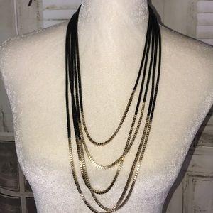 "Jewelry - Black & gold 16.5""in fashion chain"